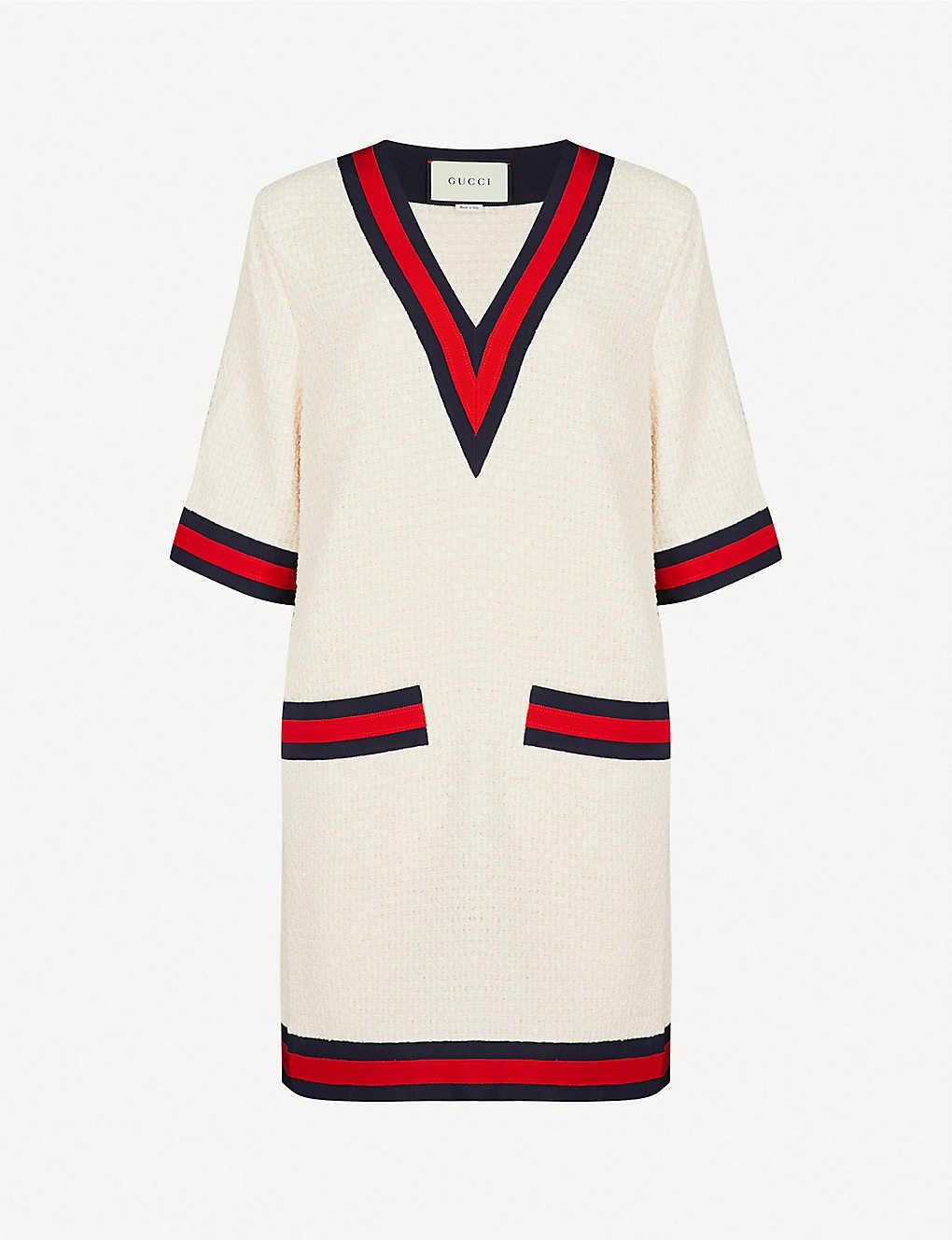 6674cce88a GUCCI - Ribbon-trim tweed T-shirt dress | Selfridges.com