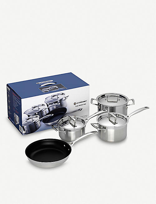 LE CREUSET: 3-ply Stainless Steel four-piece saucepan set