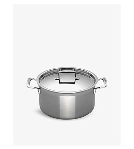LE CREUSET - 3-ply Stainless Steel deep casserole dish 24cm | Selfridges.com
