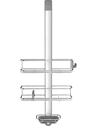 SIMPLE HUMAN: Stainless steel and anodised aluminium over-door shower caddy