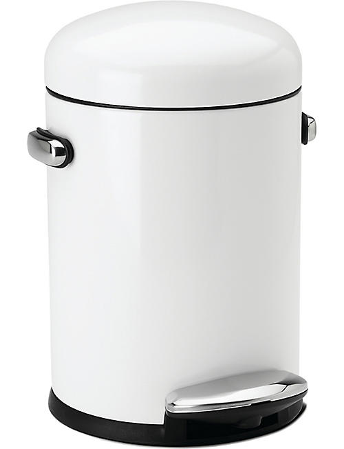 SIMPLE HUMAN: Retro white steel pedal bin 4.5L