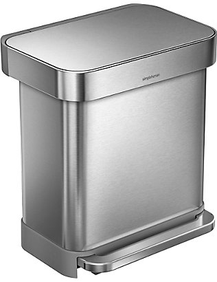 SIMPLE HUMAN: Rectangular stainless steel pedal bin 30L