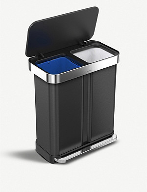 SIMPLE HUMAN Recycler dual-compartment pedal bin 58l