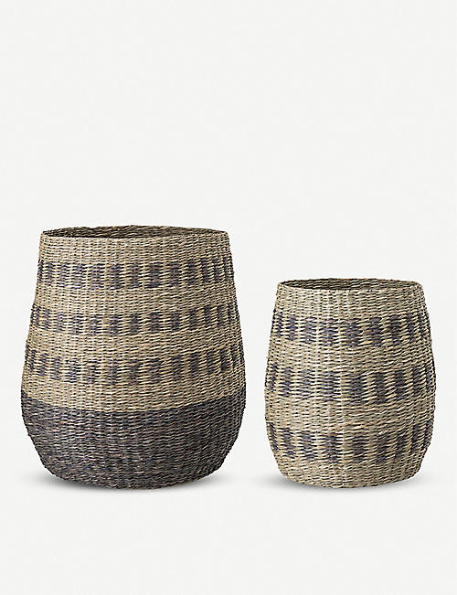 BLOOMINGVILLE Ornamental seagrass baskets set of two