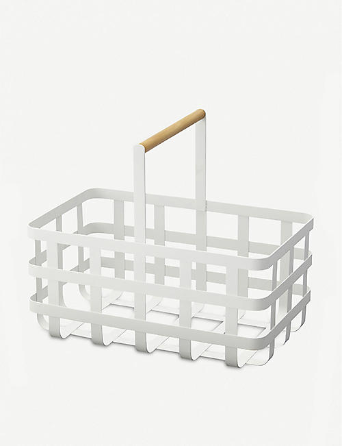 YAMAZAKI Tosca storage basket with wooden handle