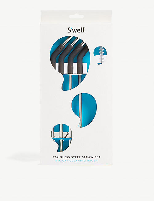 SWELL Stainless steel pack of four reusable straws