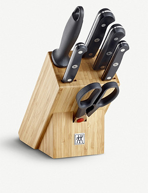 ZWILLING J.A HENCKELS Gourmet stainless steel 7-piece set and wooden block