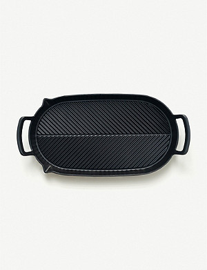 CRANE COOKWARE Herringbone two hob cast iron griddle pan 43.5cm