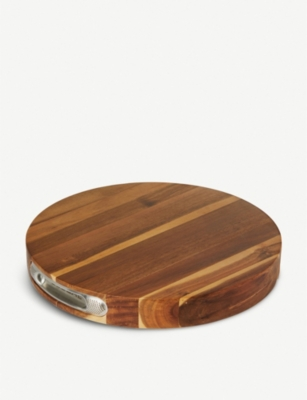 GLOBAL Pro Round wood cutting board 35cm