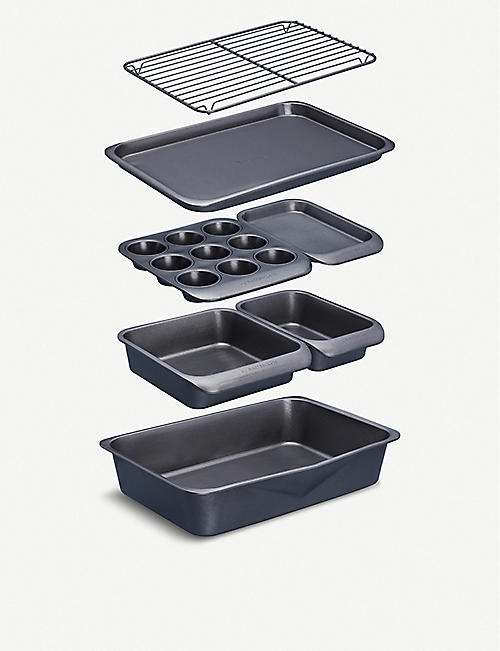KITCHEN CRAFT MasterClass Smart Space non-stick stackable baking equipment set of seven