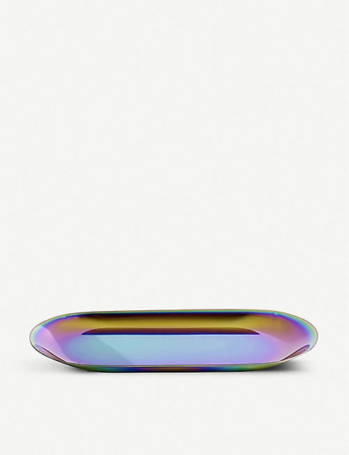 HAY Rainbow large iridescent stainless steel tray 23cm