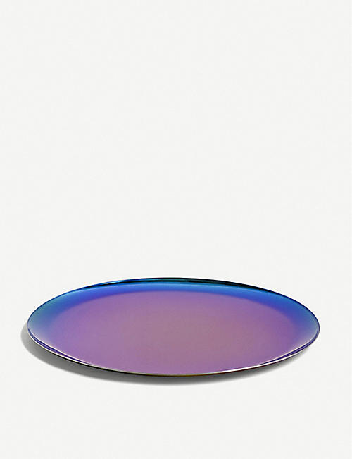 HAY Rainbow-toned stainless steel serving tray 28cm