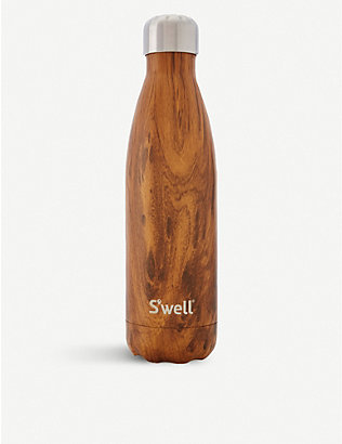 SWELL: Teakwood stainless steel water bottle 500ml