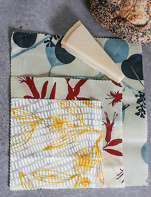 APIARY MADE Australia Native hand-painted sustainable beeswax food wraps pack of three