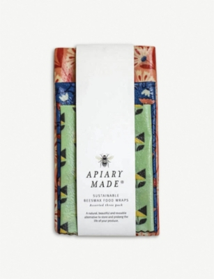 APIARY MADE Colourful Kitchen sustainable beeswax food wraps pack of three