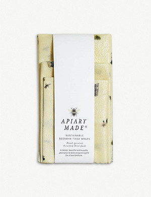 APIARY MADE Illustrated sustainable beeswax food wraps pack of three