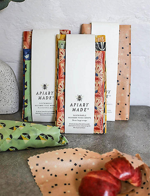 APIARY MADE Large sustainable beeswax food wraps pack of three