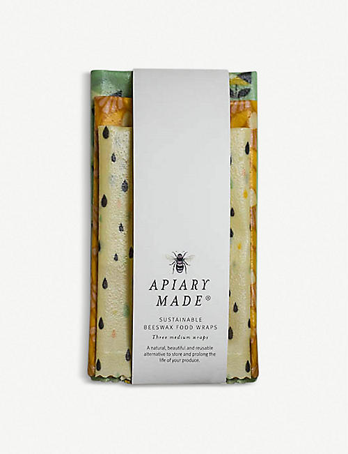 APIARY MADE Medium sustainable beeswax food wraps pack of three