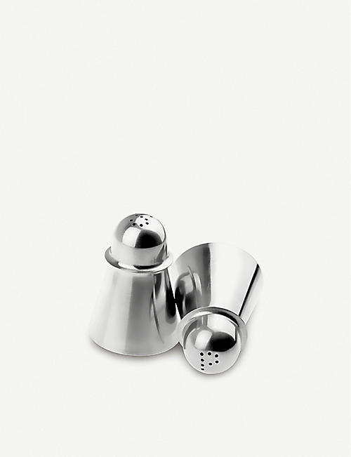 I GENIETTI: Stainless steel salt and pepper shakers set of two
