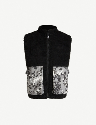 ARKAIR Hedgehog camouflage-print wool-blend faux-shearling sleeveless jacket