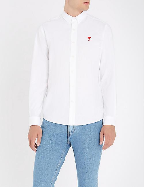 4d03fbc15a22 AMI ALEXANDRE MATTIUSSI Ami de Coeur embroidered regular-fit cotton-Oxford  shirt