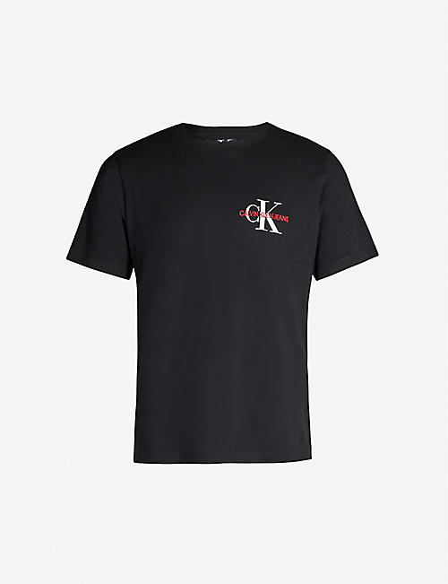 CK JEANS Monogram logo-embroidered cotton-jersey T-shirt