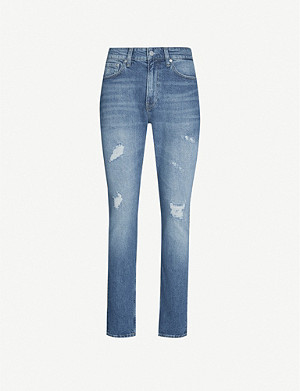 CK JEANS Slim-fit tapered stretch-denim jeans