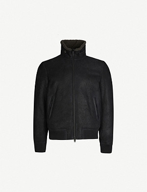 CLOSED Shearling and suede bomber jacket