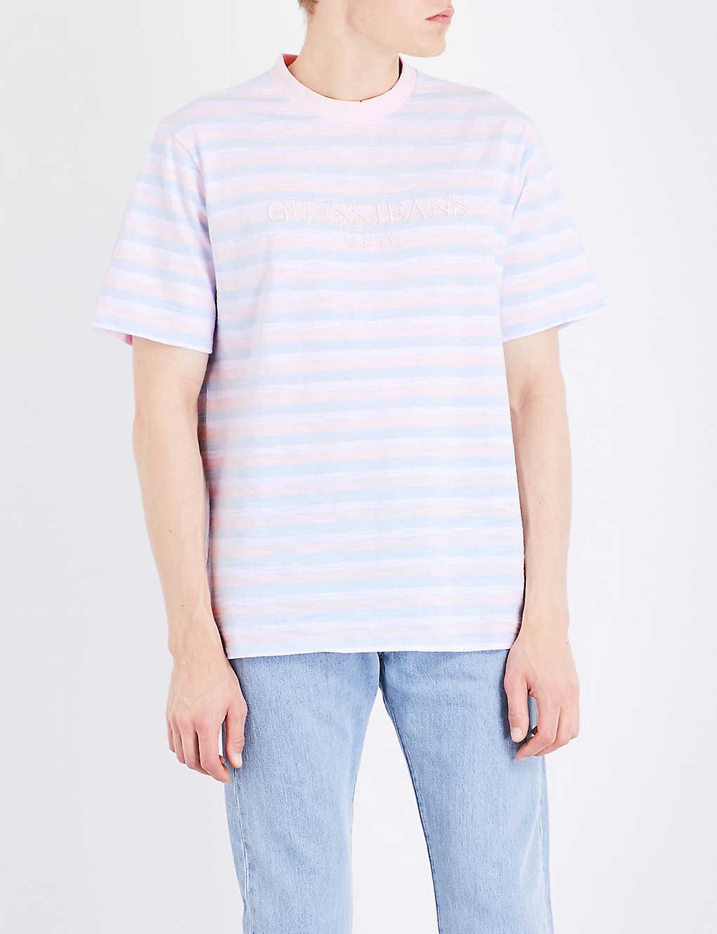 b615087d GUESS JEANS - David striped cotton T-shirt | Selfridges.com