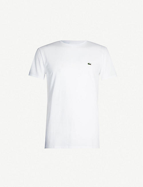 LACOSTE: Logo-badge cotton-jersey T-shirt
