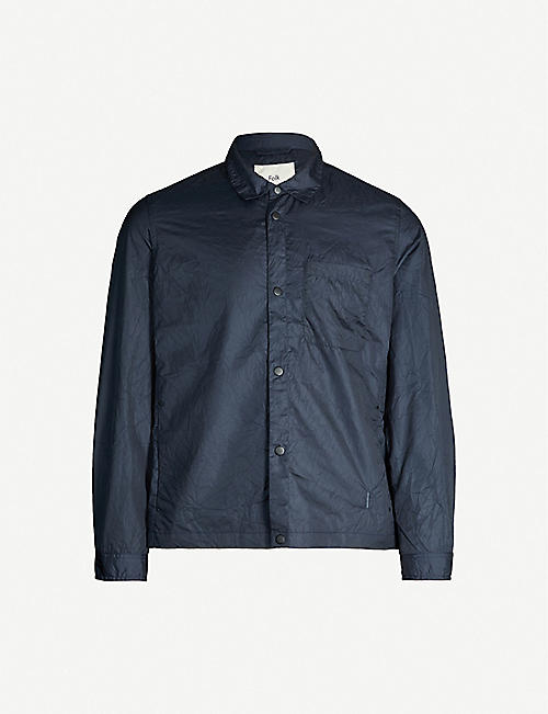FOLK Orb slim-fit crinkled-texture shell shirt Orb slim-fit spread-collar cotton shirt