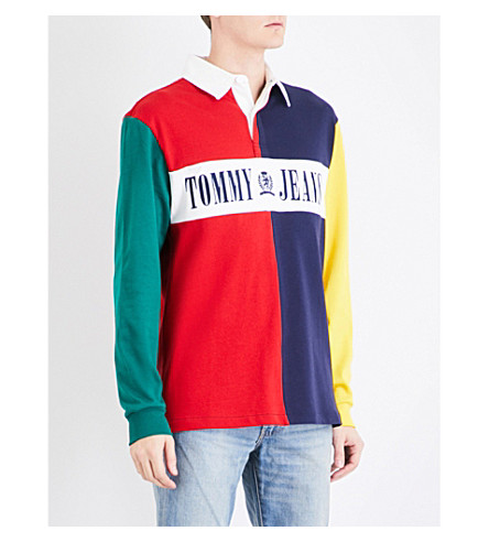 0093717db69 Tommy Jeans 90S Rugby-Style Cotton Polo Shirt In Salsa / Multi ...