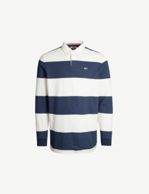 TOMMY JEANS Striped cotton-jersey rugby shirt