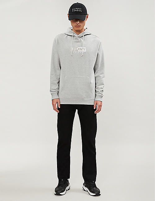 TOMMY JEANS Logo-embroidered cotton-blend fleece hoody