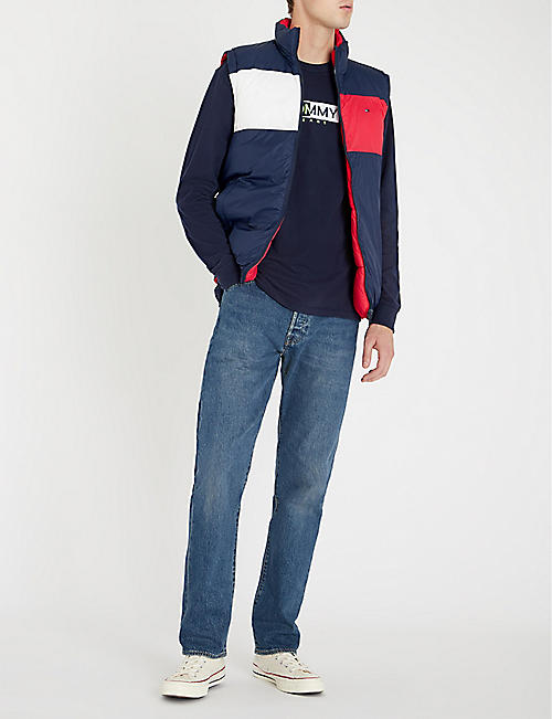 TOMMY JEANS Logo-embroidered cotton-jersey top