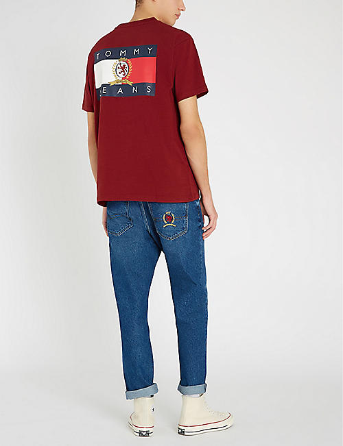 TOMMY JEANS Crest flag cotton-jersey T-shirt
