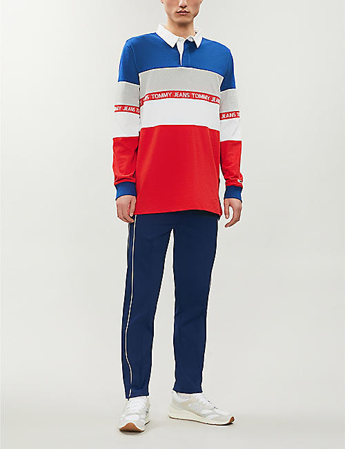 TOMMY JEANS Colour-block panel cotton-jersey rugby shirt