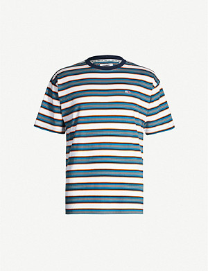 TOMMY JEANS Contrast-striped cotton-jersey T-shirt