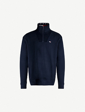 TOMMY JEANS Logo-embroidered cotton-jersey sweatshirt