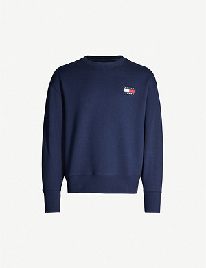 TOMMY JEANS Logo-patch cotton-jersey sweatshirt