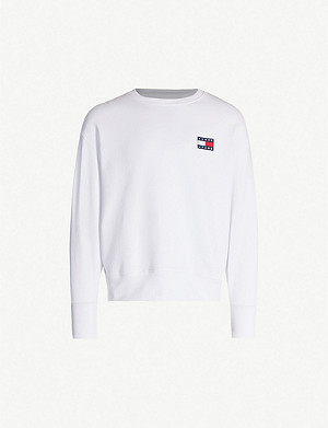 TOMMY JEANS Logo-appliqué cotton-jersey sweatshirt