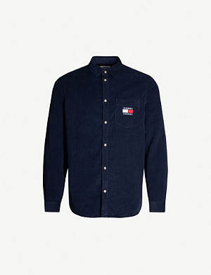 TOMMY JEANS Logo-embroidered cotton-corduroy shirt