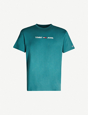 TOMMY JEANS Logo-embroidered cotton T-shirt