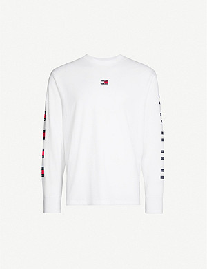 TOMMY JEANS Flag brand-print cotton-jersey top