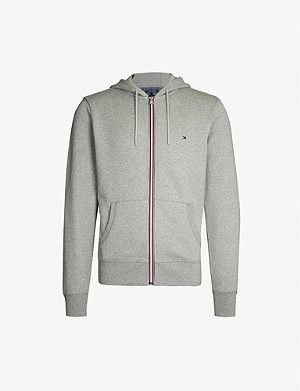 TOMMY HILFIGER Striped-trim cotton-jersey hoody