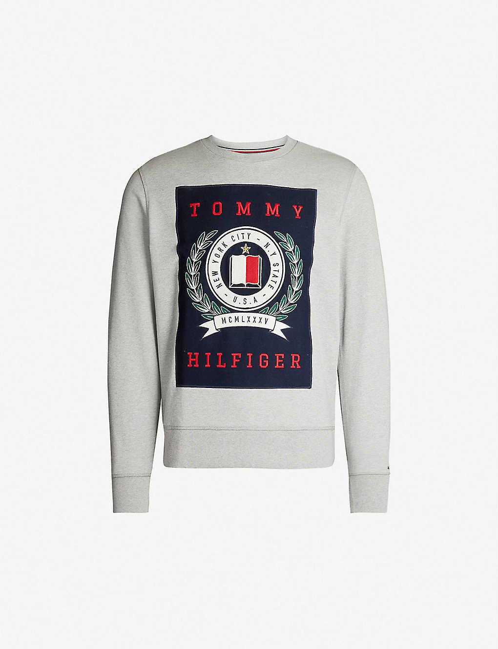3839ed3d TOMMY HILFIGER - Crest-appliqu? cotton-jersey sweatshirt ...