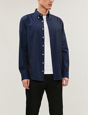e7ee3722bc8353 TOMMY HILFIGER Slim-fit polka dot cotton-jacquard shirt