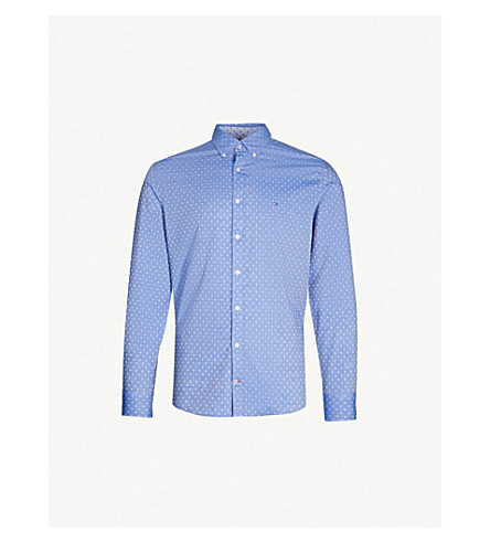 6c2936ca7306b1 TOMMY HILFIGER Slim-fit polka dot cotton-jacquard shirt (Surf+the+
