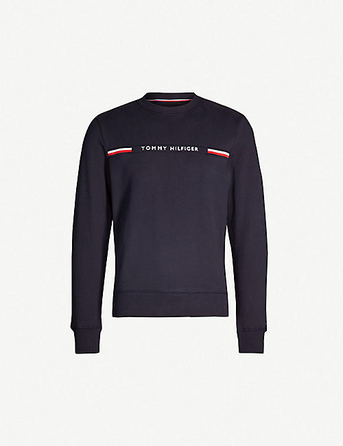 d6a6f4ea3f77 TOMMY HILFIGER Logo-embroidered cotton-jersey sweatshirt