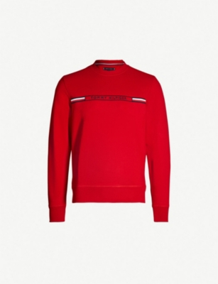 TOMMY HILFIGER Logo-embroidered cotton-jersey sweatshirt